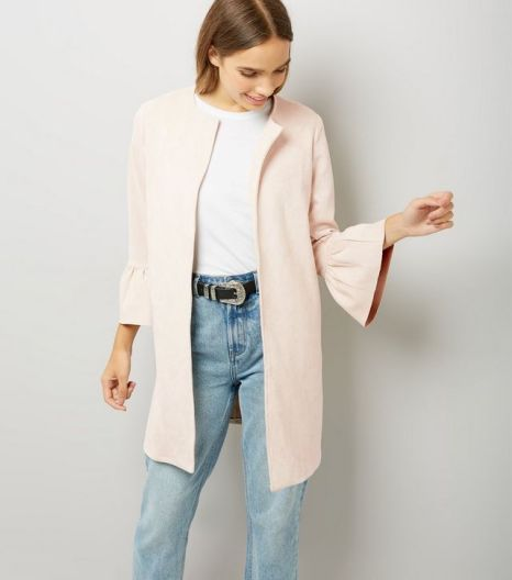 cameo-rose-shell-pink-frill-sleeve-longline-jacket